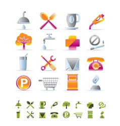 realistic petrol station and travel icons vector image vector image