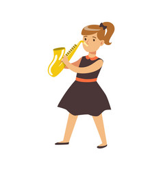 young girl in black dress playing on saxophone vector image vector image