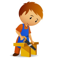 carpenter cutting the wooden panel with handsaw vector image vector image