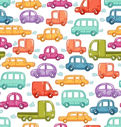 Cars doodles pattern vector image