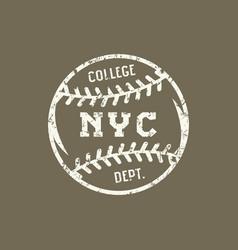 emblem of the baseball team of new york vector image