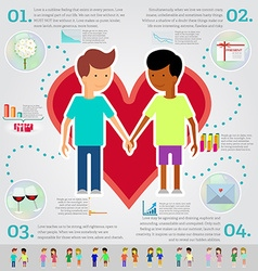 Love marriage couple of two men infographic set vector image vector image