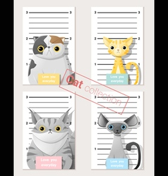 Mugshot of cute cats holding a banner 2 vector image