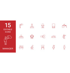 15 manager icons vector image