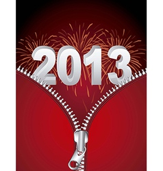 2013 new year with fireworks and zipper vector image