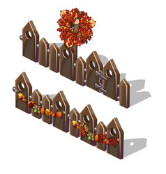 A set fragments a wooden fence decorated vector