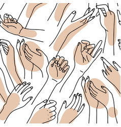abstract seamless pattern with female hands hand vector image