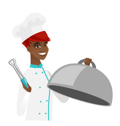 African chef cooking chicken on barbecue grill vector