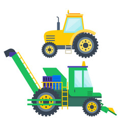 Agricultural machinery tractor and harvester set vector