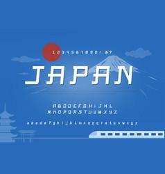 Alphabet font set with blue unique japan theme vector
