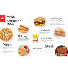 american food menu restaurant on a white wooden vector image
