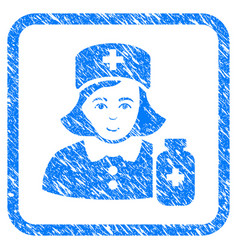 Apothecary lady framed stamp vector