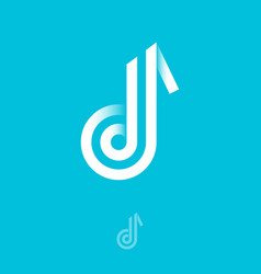 B monogram letter like a music note consist vector