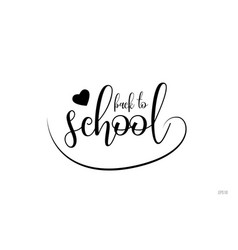 back to school typography text with love heart vector image