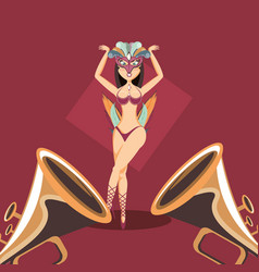 beautiful woman dancer with carnival costume vector image