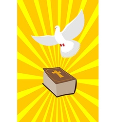 Bible and white dove symbols christianity pure vector