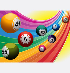 Bingo balls over curved rainbow vector