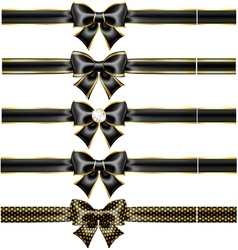 Black bow with gold and ribbons vector image