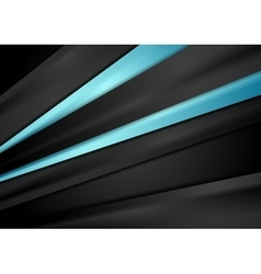 Black tech background with blue smooth stripes vector image