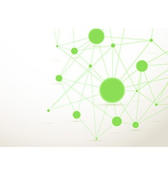 Bright green connected dots background vector image