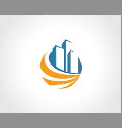 building cityscape round swirl logo vector image