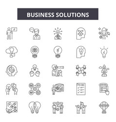 business solutions line icons signs set vector image