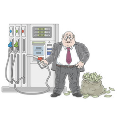 Businessman at a gas station with a bag money vector