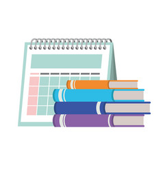 calendar reminder and books isolated icon vector image