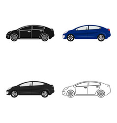 car single icon in cartoonoutlineblack style for vector image
