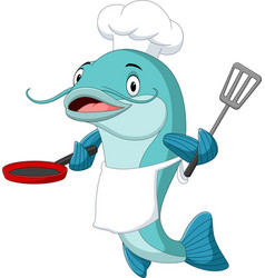 Cartoon catfish chef holding a frying pan and spat vector