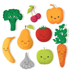 Cartoon funny fruits and vegetables vector