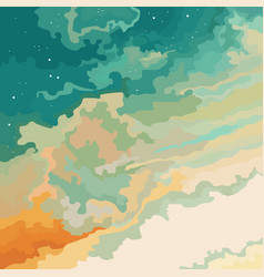 cartoon sky sunset blue orange with stars vector image
