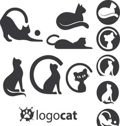 Cat logo set vector