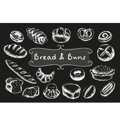 Chalk bakery food set vector