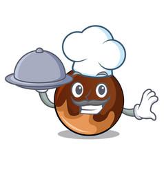 Chef with food chocolate donut mascot cartoon vector