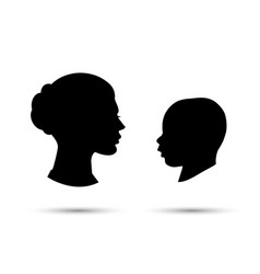 Child and mother silhouette vector