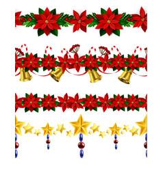 christmas horizontal seamless set background vector image