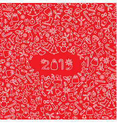 Christmas icon holiday background happy new 2019 vector