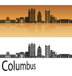 Columbus skyline in orange vector