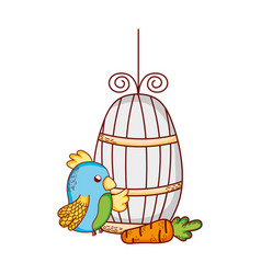 cute animals blue parrot cage and carrot cartoon vector image