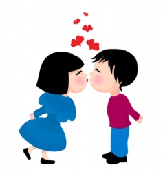 Cute kissing couple vector