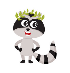 Cute little raccoon character champion winner vector