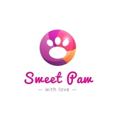 Cute paw logo Pet shop sign vector