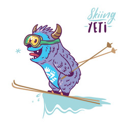 cute yeti skiing print vector image