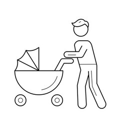 Dad walking with bain pushchair line icon vector