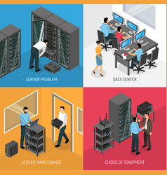 datacenter 2x2 isometric design concept vector image