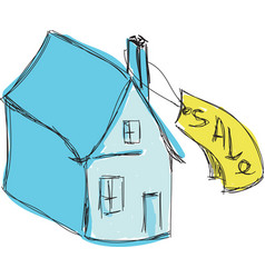 drawn colored blue house for sale vector image