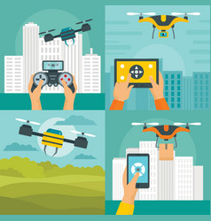 Drone quadcopter banner concept set flat style vector