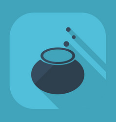 Flat modern design with shadow witches cauldron vector