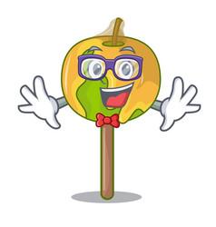 Geek candy apple character cartoon vector